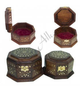 Hexagonal Wood Box - Bronze Inlay - 2 Sizes