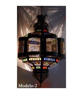 Lampe andalouse émeraude géante - verre couleurs - 110 cm.